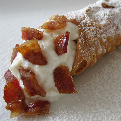 Big candied bacon cannoli
