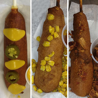 jalapeno cheese sweet corn and double bacon corndogs