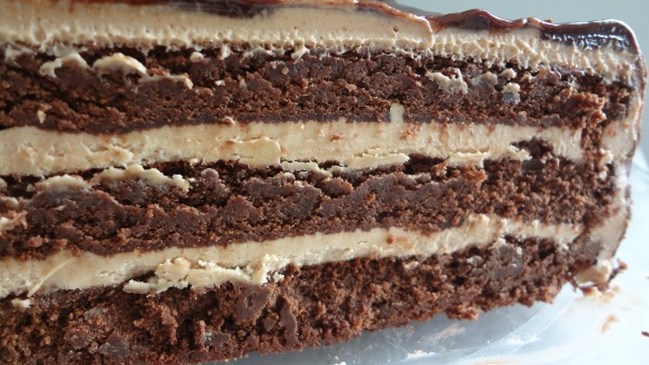 Chocolate peanut butter layer torte