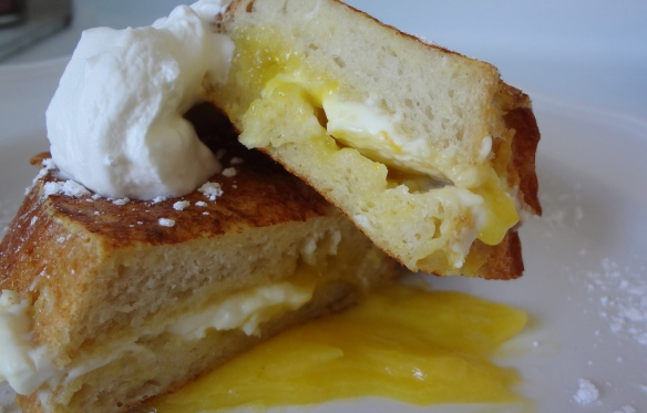 Lemon curd stuffed french toast
