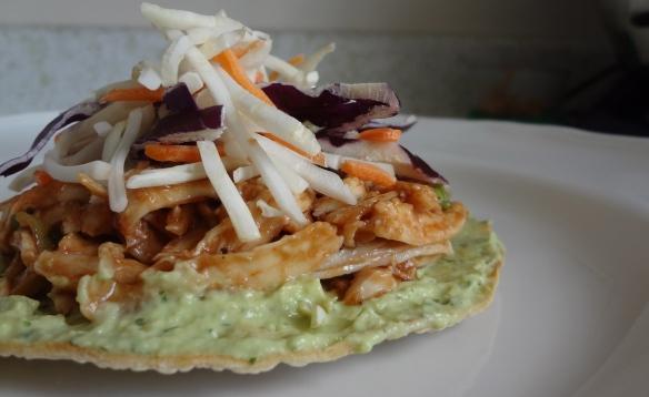 BBQ chicken tostadas with avocado cream