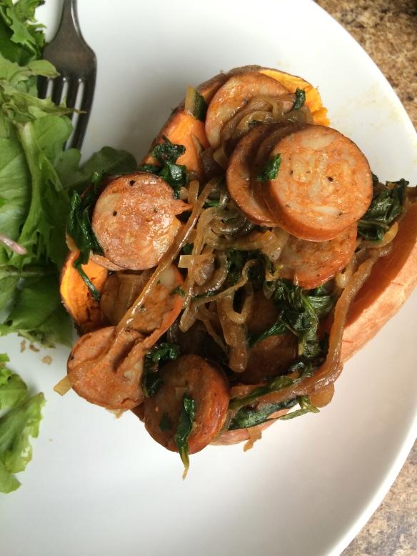 Chorizo, Kale, and Caramelized Onion Stuffed Sweet Potatoes